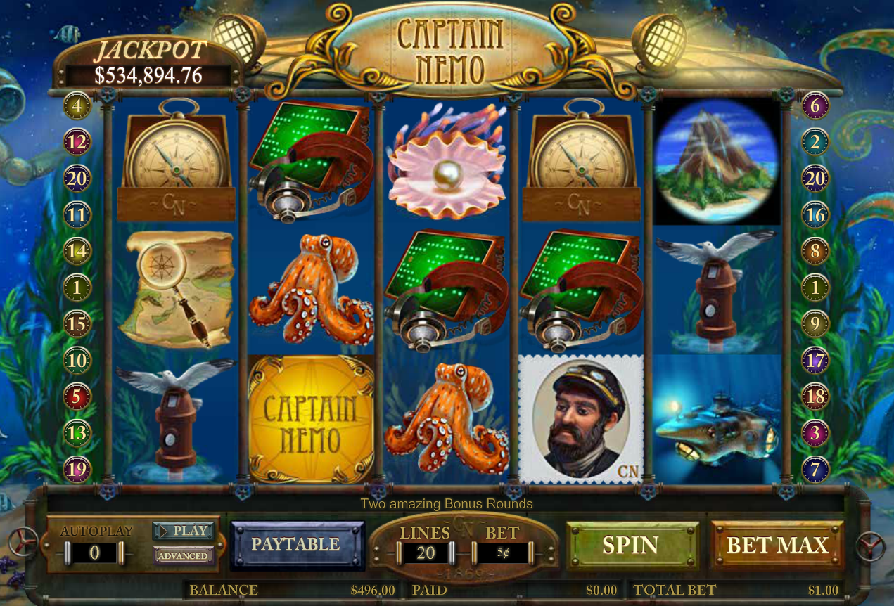 "Captain Nemo Slot Game Review.Captain Nemo free slot to play with no download was created by Amaya Gaming on the base of the book ""Twenty Thousand League under the Sea"" written by Jules Verne.By the way, there is one more slot, closely related to this theme – 20, League.Suluova"